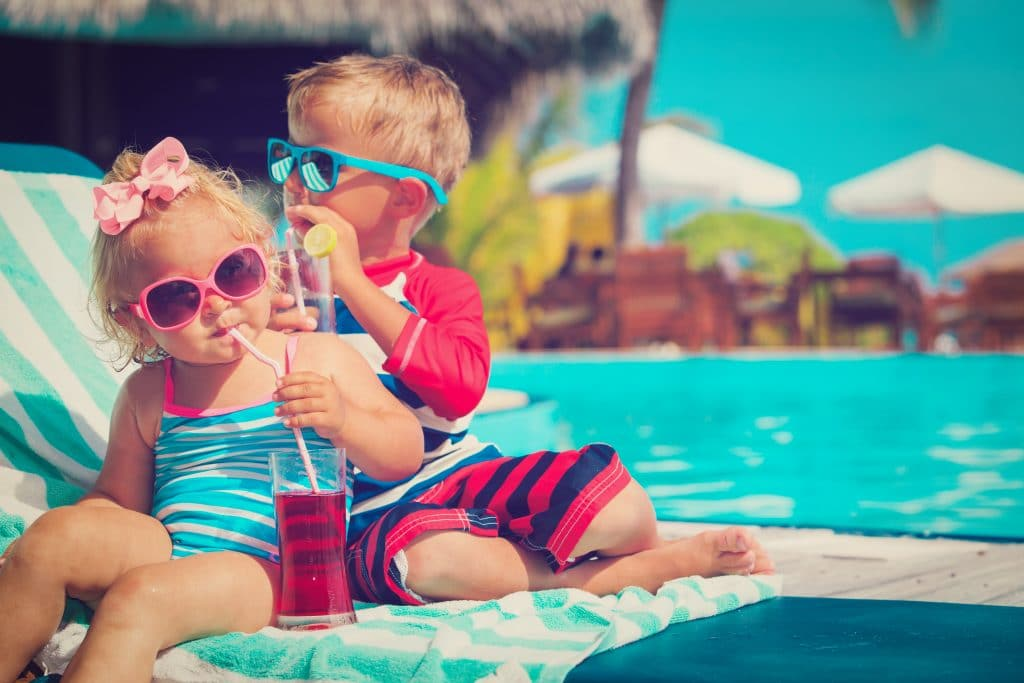 kids drinking at the pool