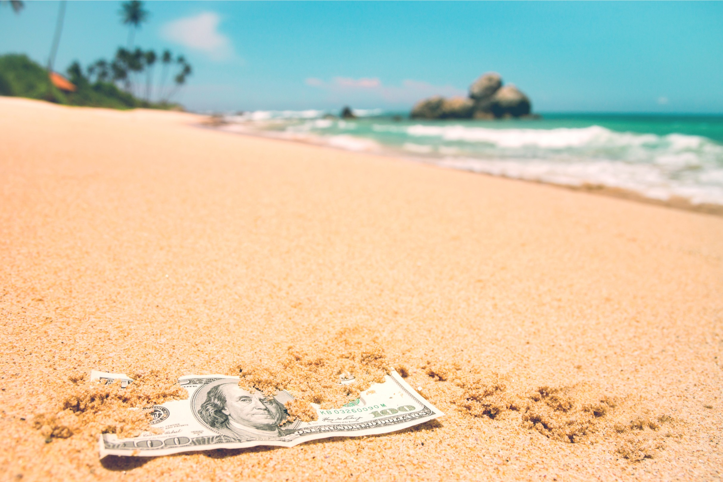 money on beach